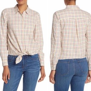 Madewell rainbow plaid button up tie front shirt